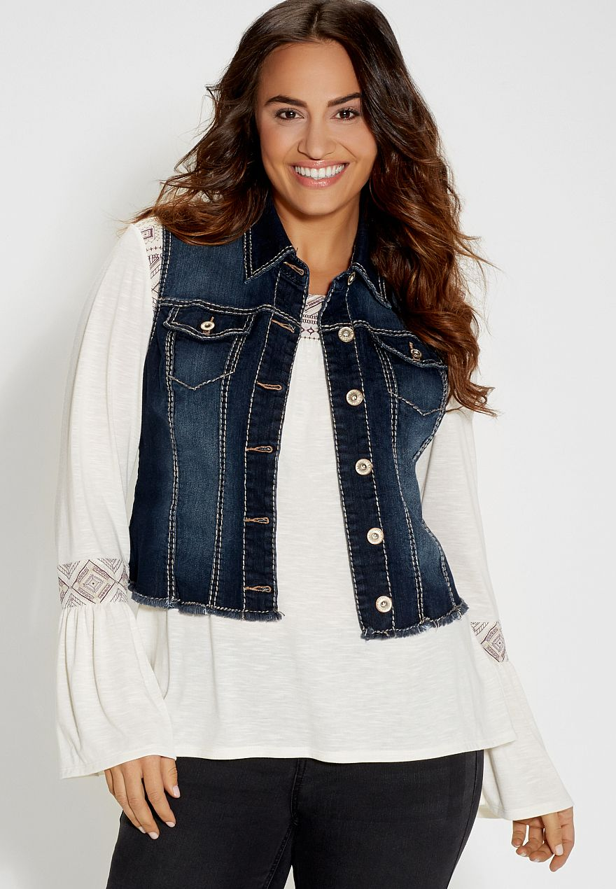 plus size denim vest in dark wash with frayed hem - #maurices ...