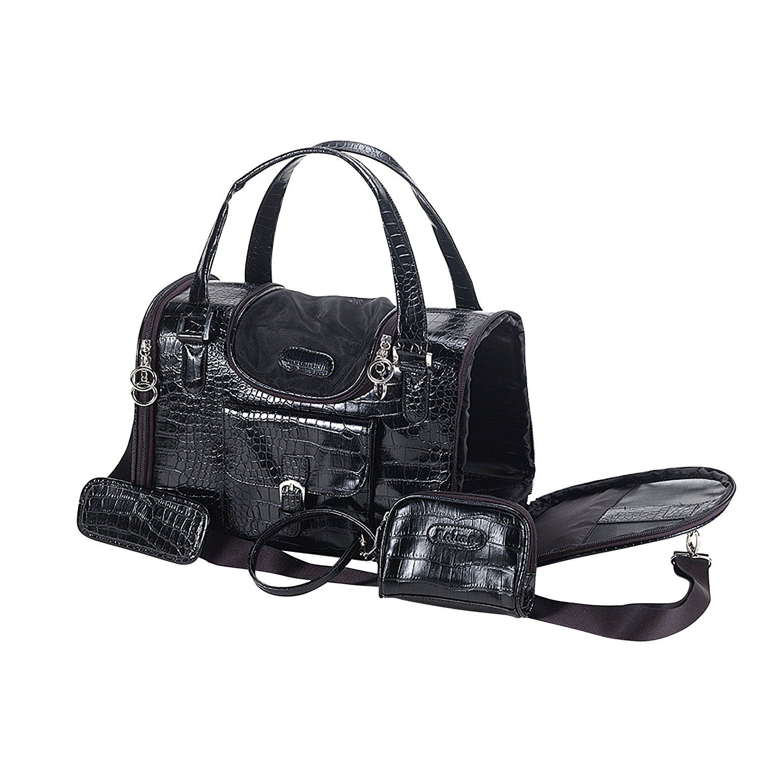 FauxCrocodile Travel Bag w/Matching Coin Purse (Black or