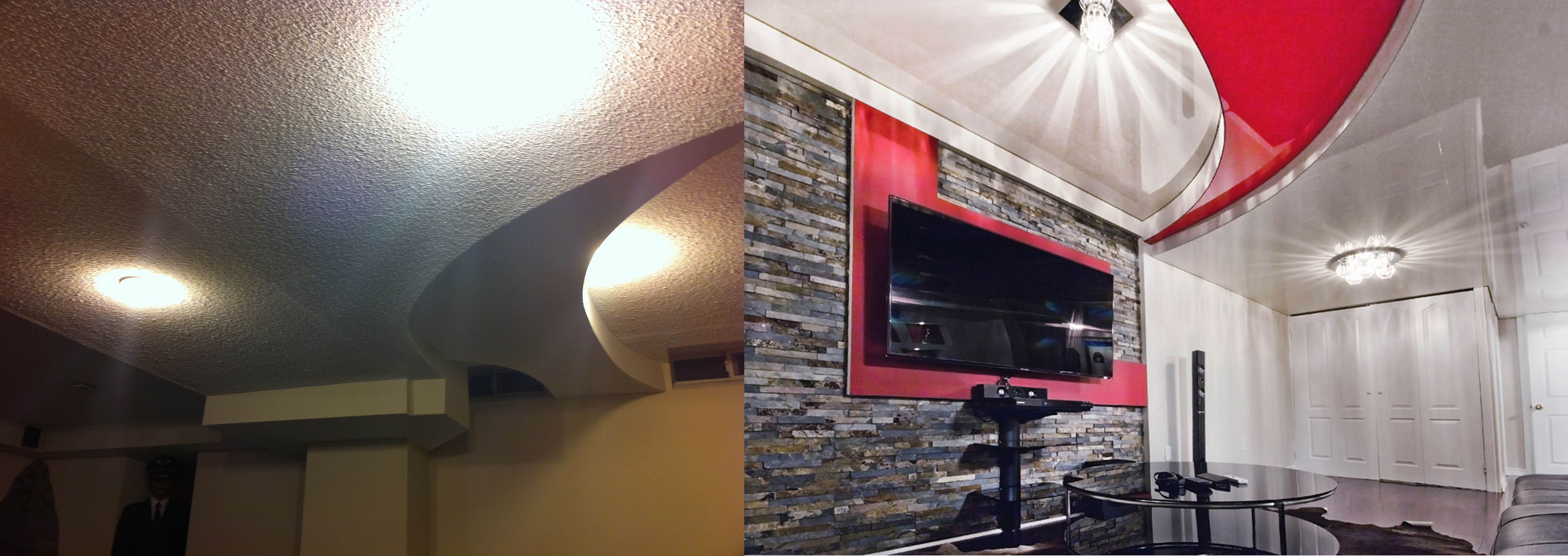 Before and after stretched ceiling installation in a