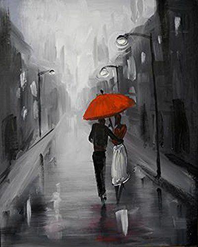 Robot Check Umbrella Painting Red Umbrella Art