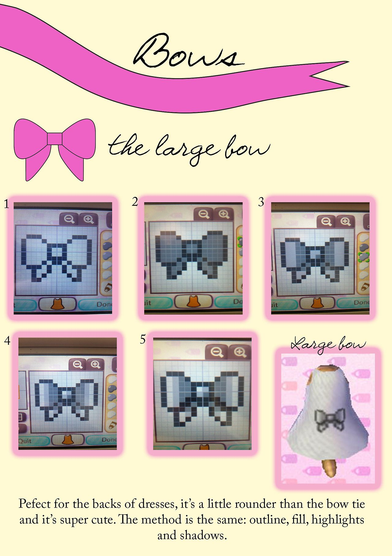 Tutorial For A Big Bow On A Pattern For Acnl There Are A Lot More