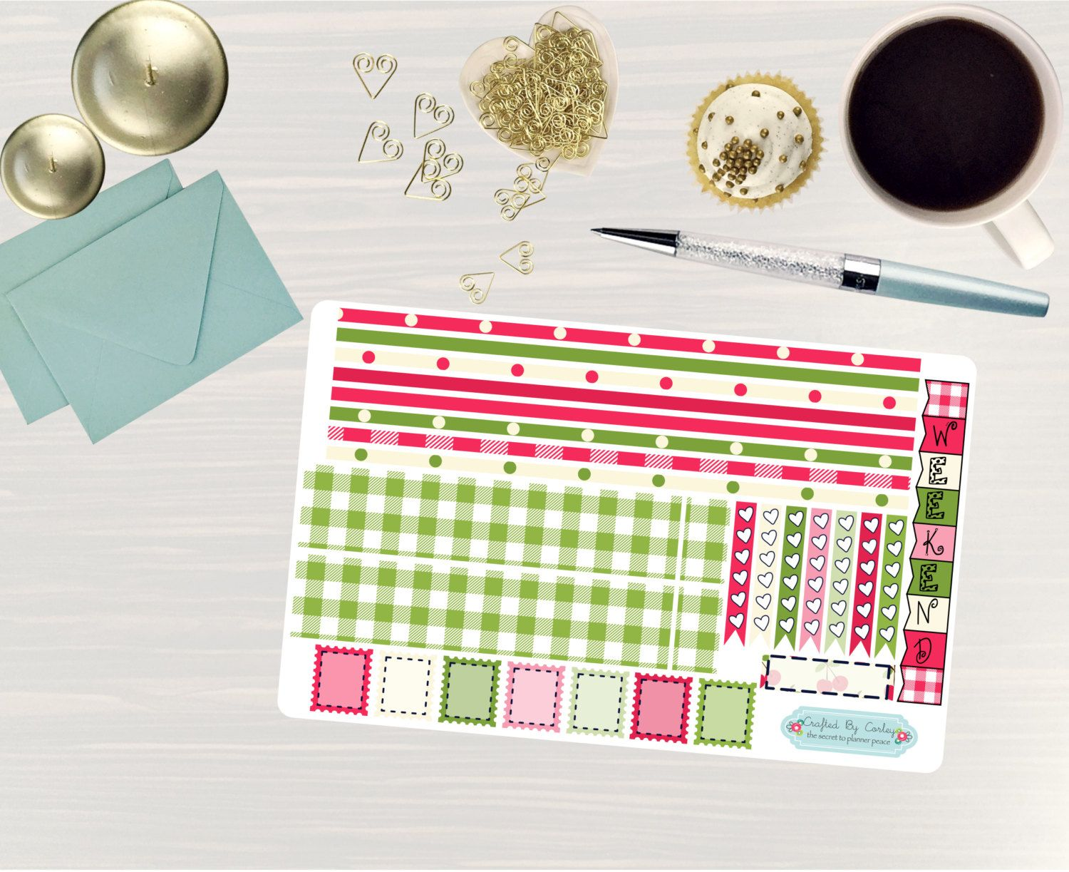 Available at CraftedByCorley on Etsy: Cherry Delight - Transform My Planner - Erin Condren Horizontal Planner and More