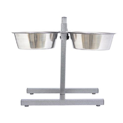 Adjustable Stainless Steel Pet Double Diner for Dog - 3 Qt - 96 oz - 12 cup