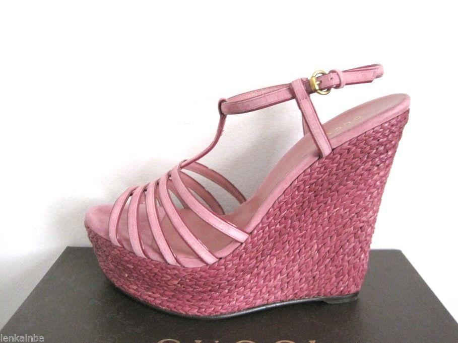 Gucci Vintage Rose Espadrille Wedge Platform Sandals Shoes 40.5 10.5 $595