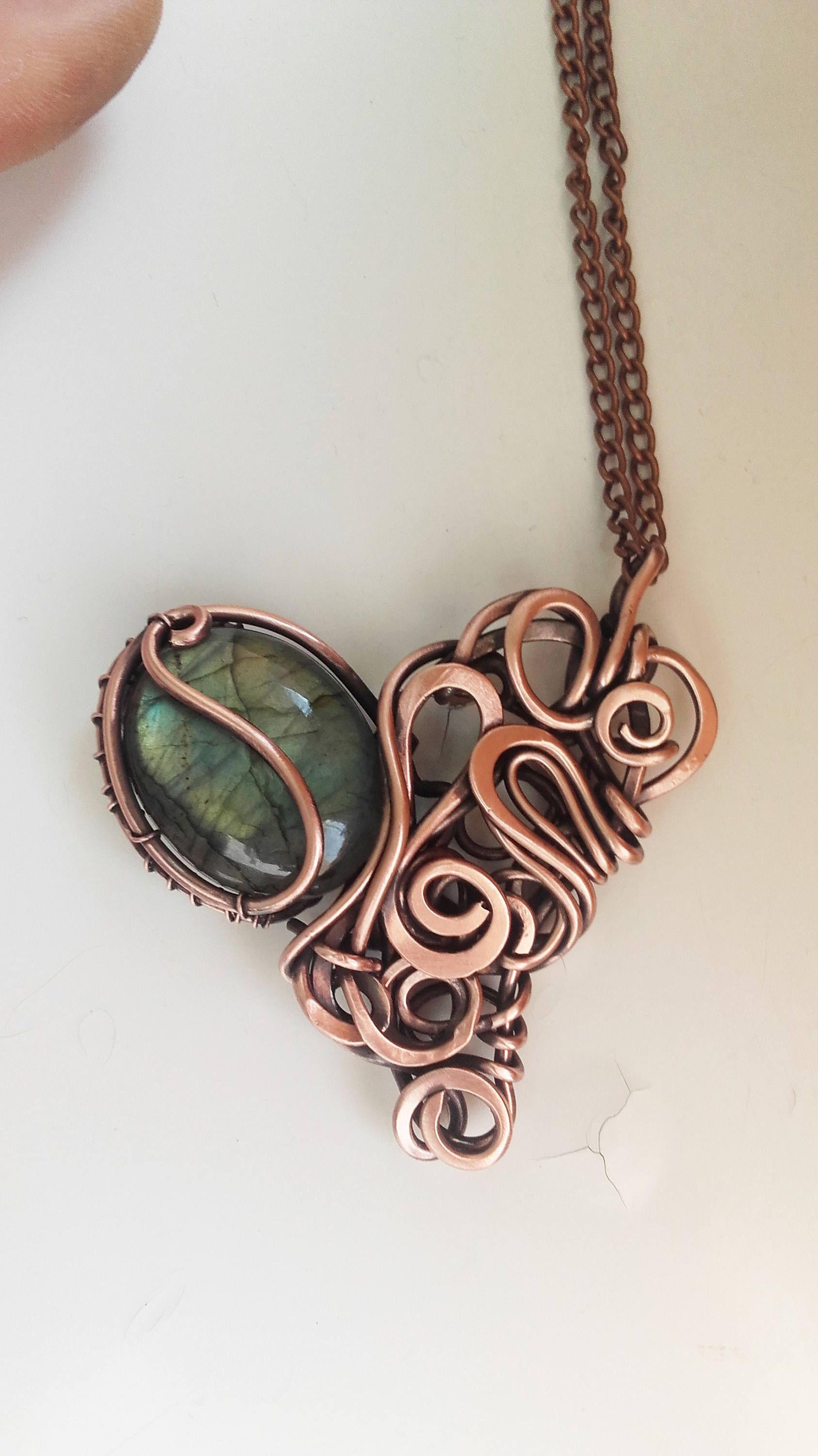 green with is copper donut a pendant made and criss cross wire here pin bail