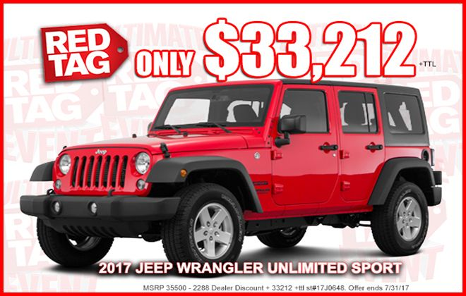 Ultimate Red Tag Event Ralph Sellers 2017 Jeep Wrangler Unlimited 2017 Jeep Wrangler Wrangler Unlimited Sport