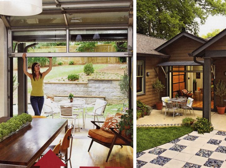 Glass Garage Doors Instead Of Large Glass Windows In The