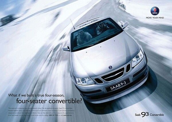 The 2006 Saab 9 3 Aero Convertible Official Print Advertisement What If We Built A True Four Season Four Seater Convertible Saab 9 3 Aero Saab Convertible