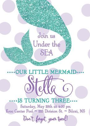 Mermaid Birthday InvitationUnder the Sea DIGITAL FILE
