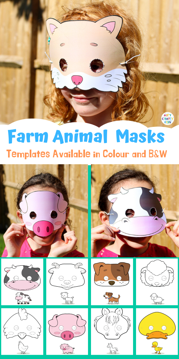 Printable Farm Animal Masks for Kids #animalcrafts