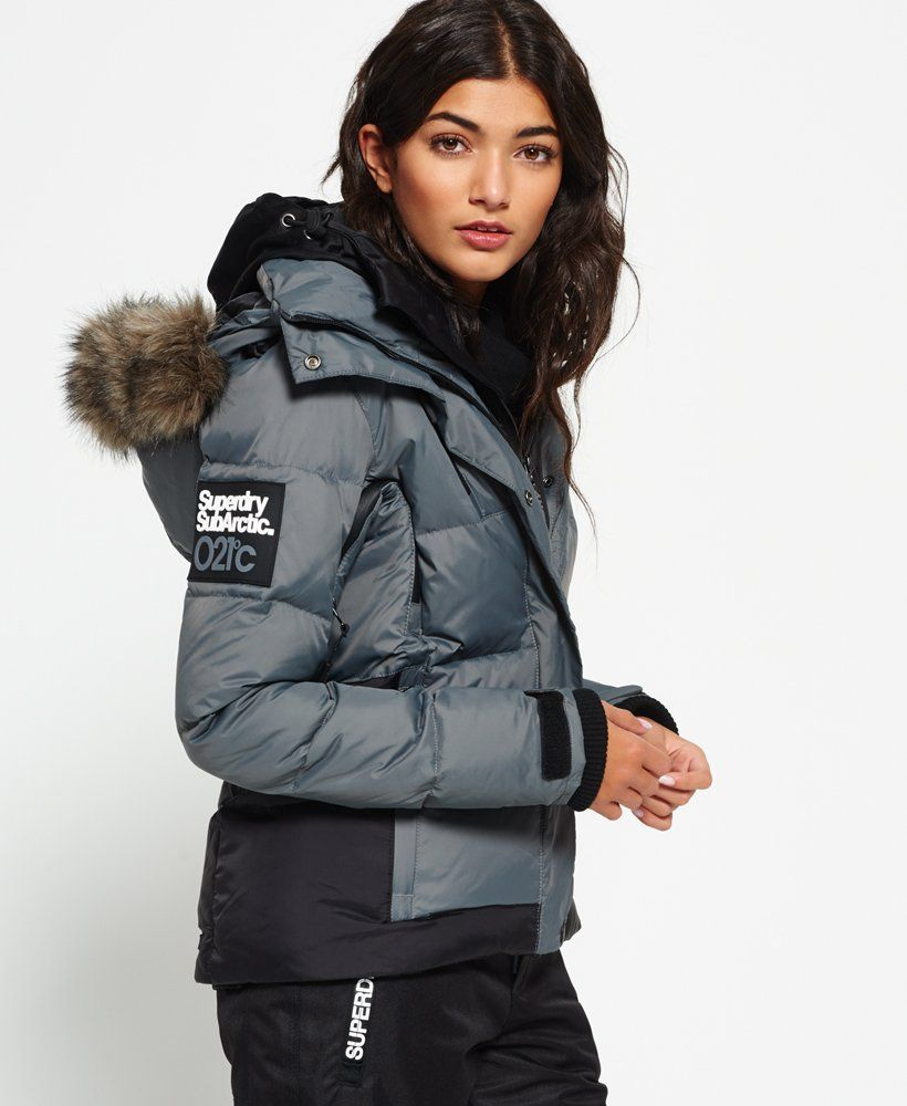 Womens Sub Arctic Super Down Jacket in Charcoalblack