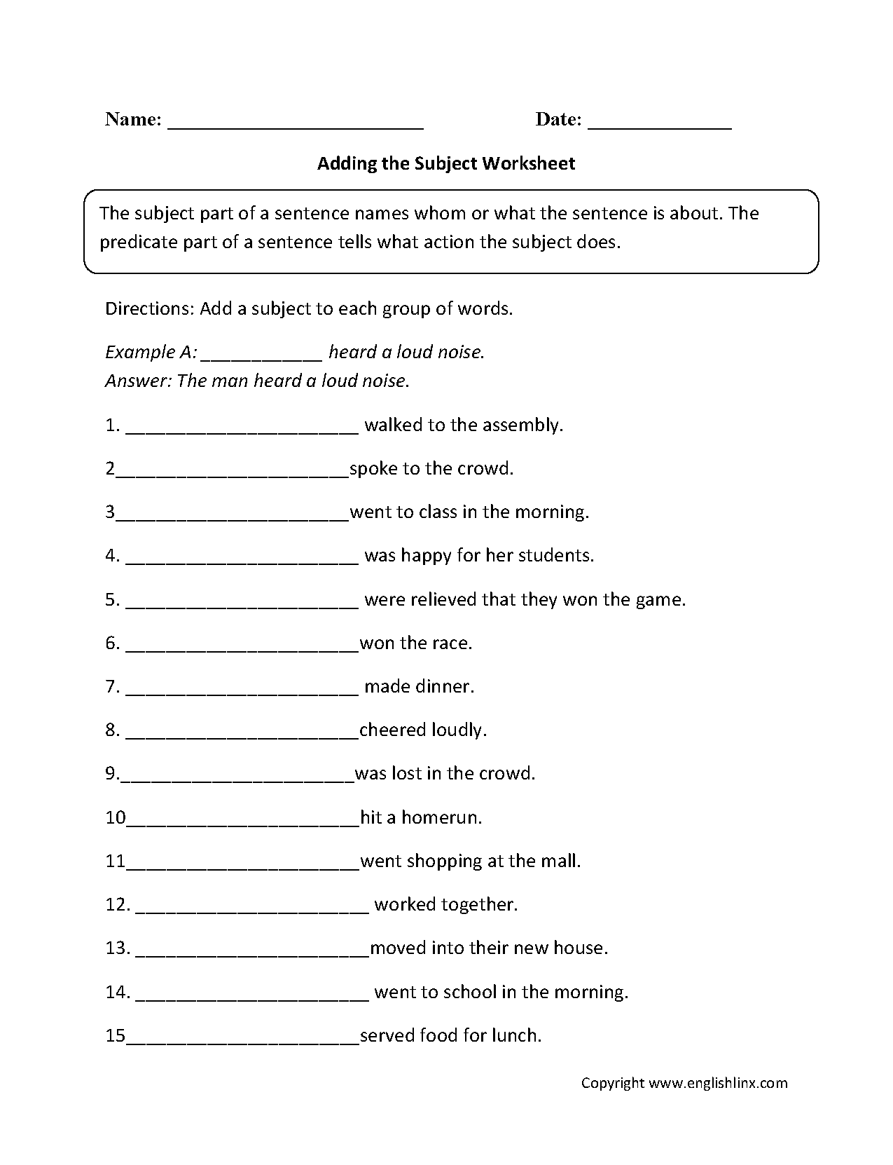 Adding a Subject Worksheet Englishlinx Board – Grammar Worksheets 6th Grade