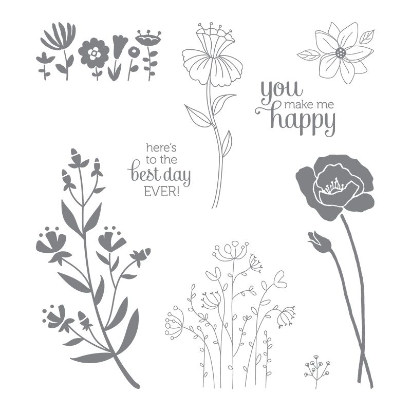 Flirty Flowers Clear-Mount Stamp Set 143872 Price: $19.00
