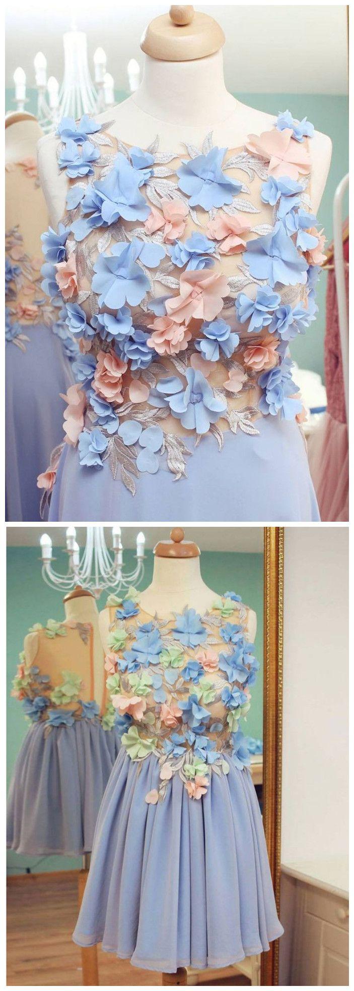 Aline scoop floral homecoming dress lavender short prom dresses