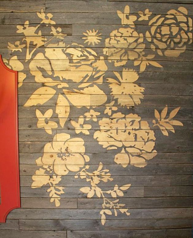 Floral Wall Art Made with CNC Engraved Barn Board   Floral wall art ...