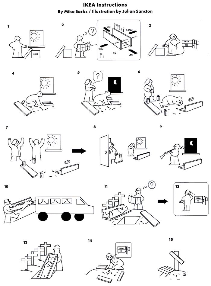funny ikea instructions cartoon instructions pinterest. Black Bedroom Furniture Sets. Home Design Ideas