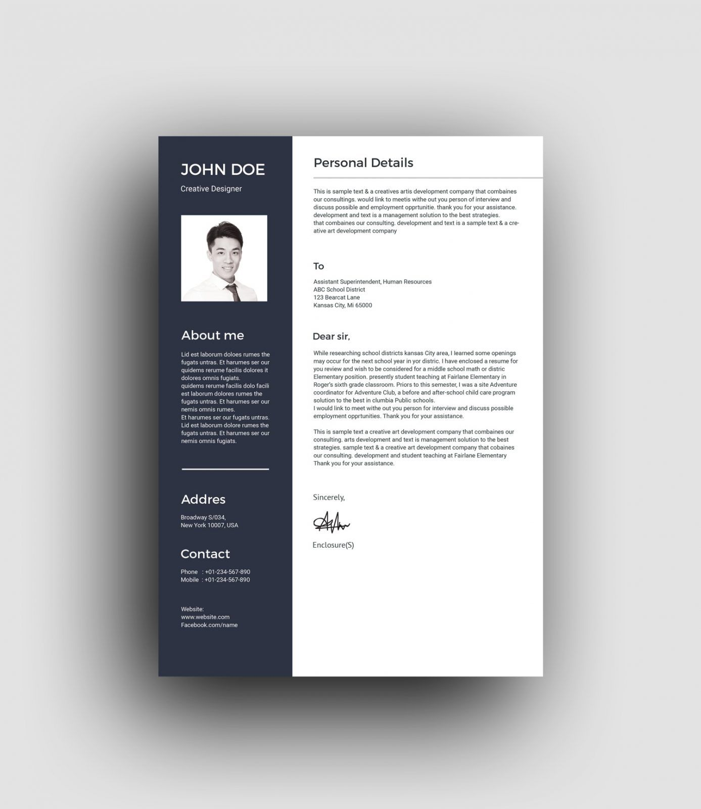 PSD Classic Professional Resume Template 001461 PSD