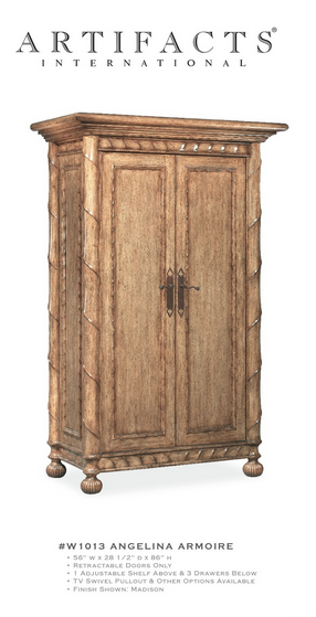 Angelina Armoire. Custom Crafted Design Trade Furniture By Artifacts  International.