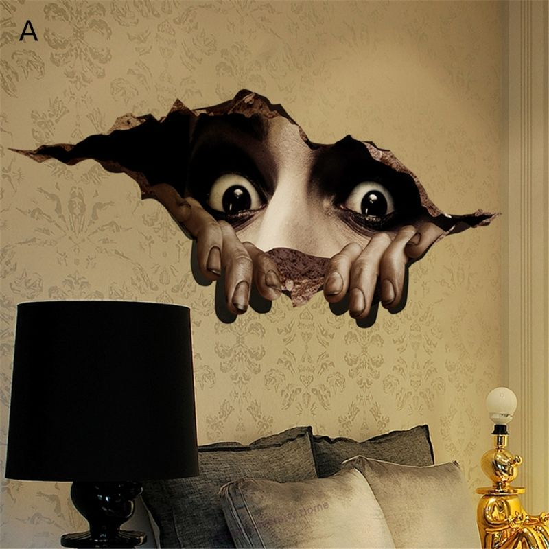 halloween 3d stereo self adhesive wallpaper creative on wall stickers 3d id=94518