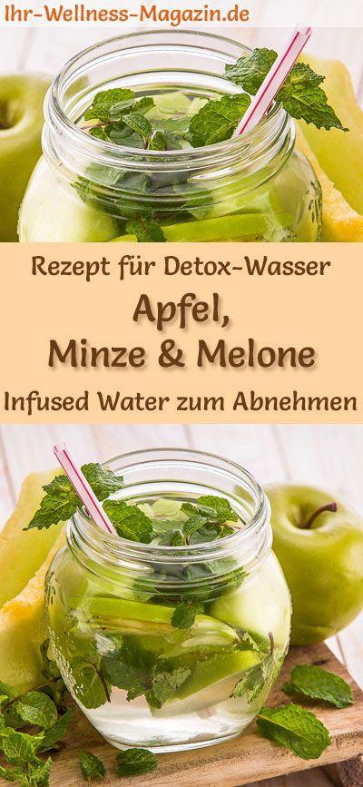 Apfel-Minze-Melonen-Wasser - Rezept für Infused Water - Detox-Wasser