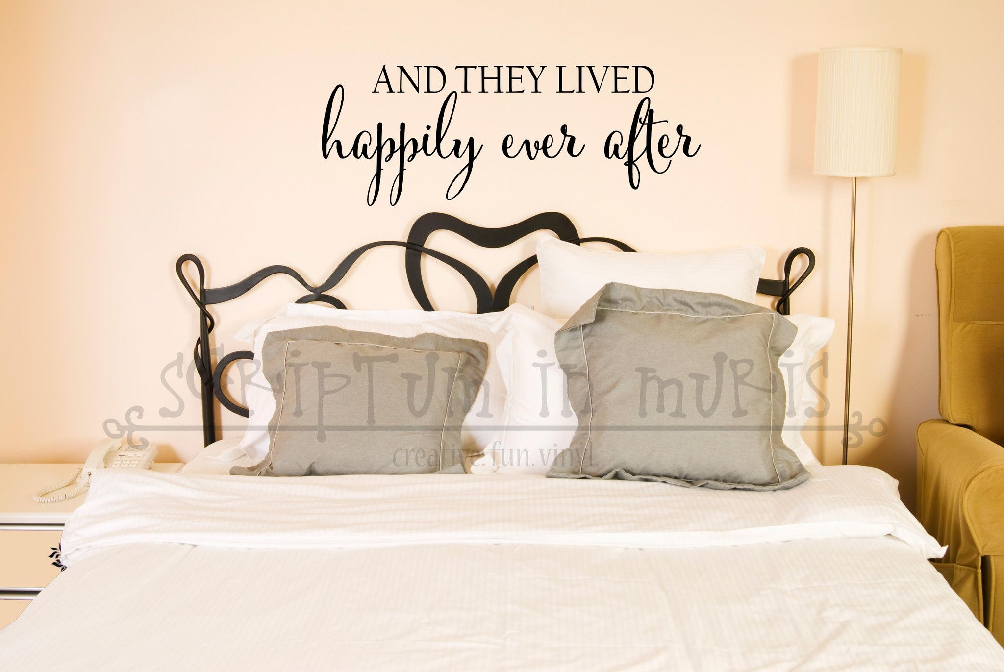 Master bedroom wall decor stickers  And They Lived Happily Ever After Bedroom or Wedding Vinyl Decal