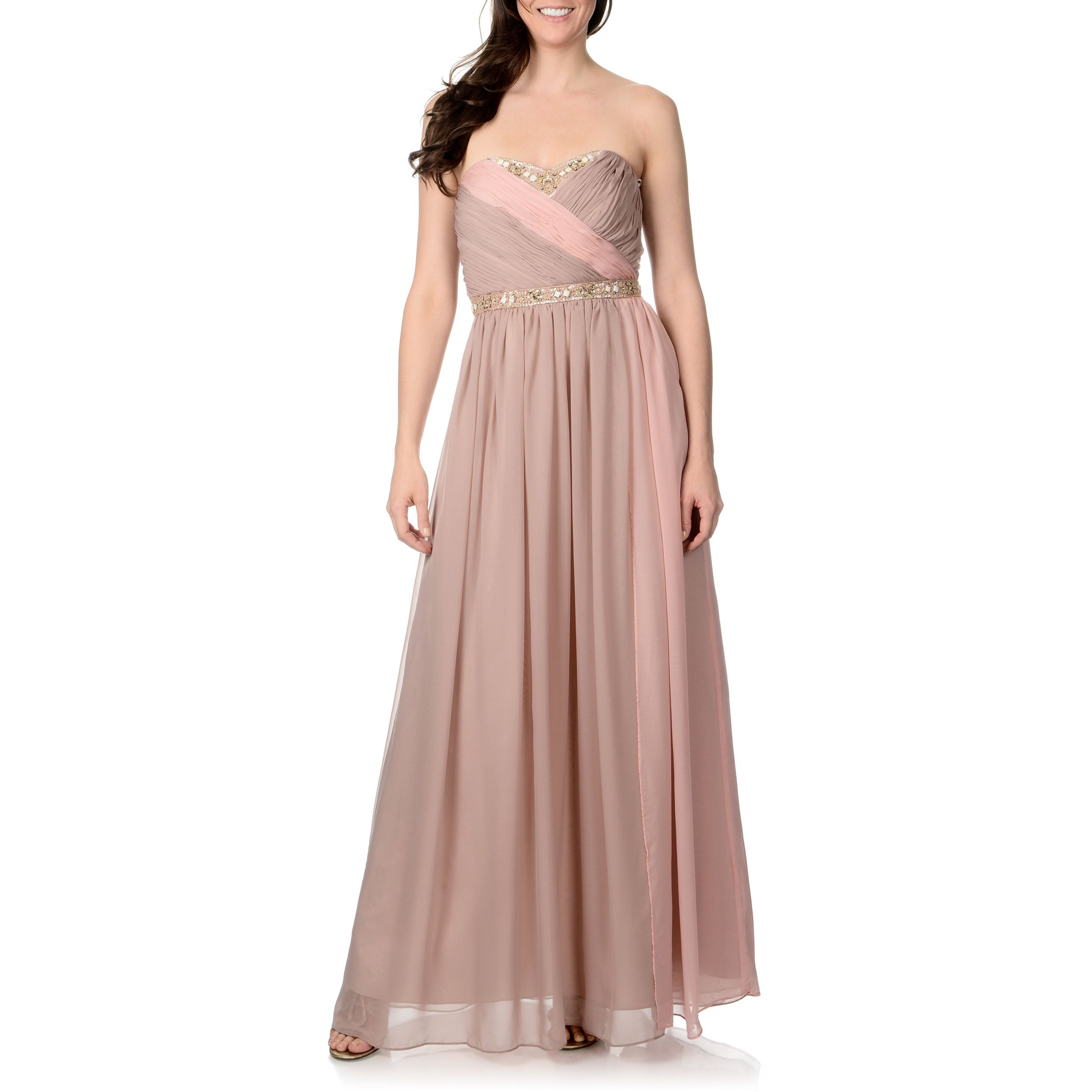 This neutral nude gown from Decode 1.8 is delicately trimmed with ...