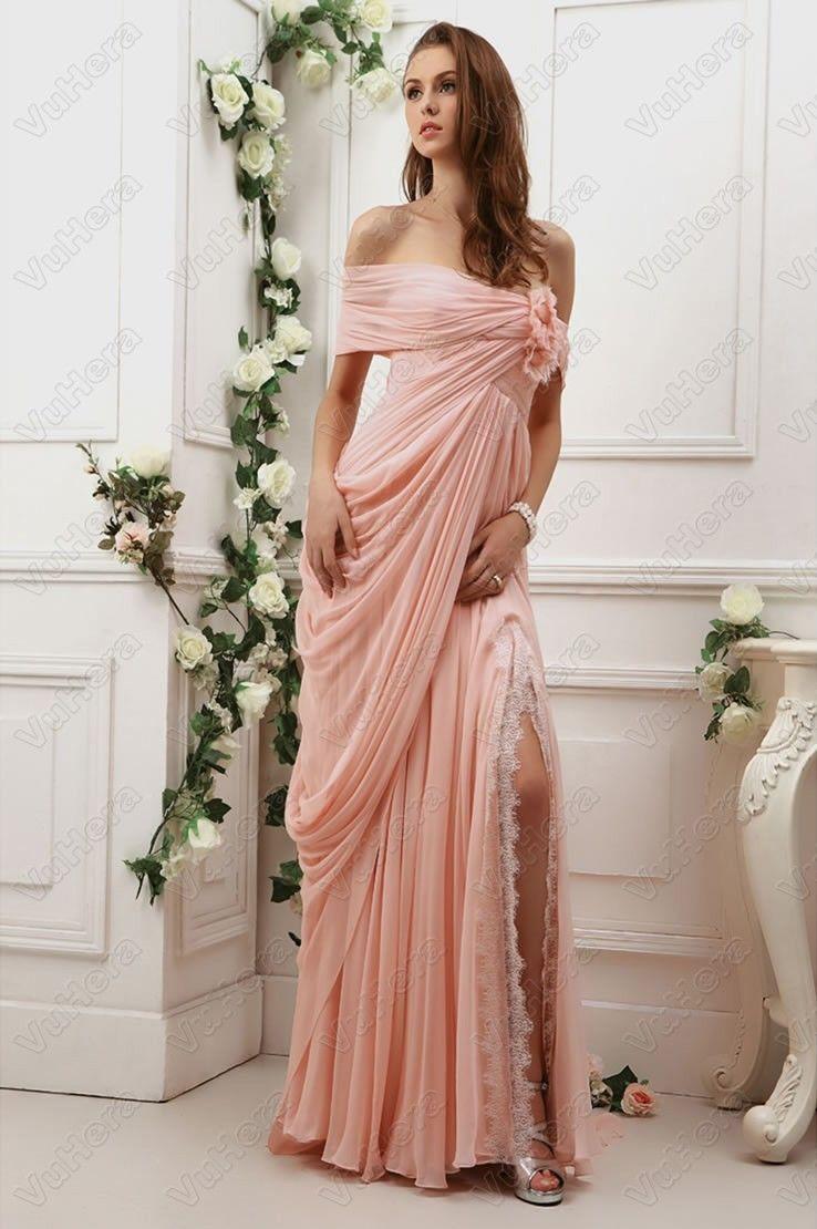 Aline strapless full length pink prom dres prom dresses