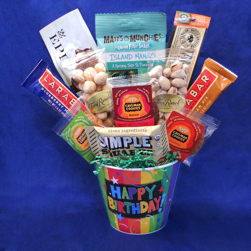 Celebrate a birthday with our fun and colorful Paleo Birthday Celebration Basket. Full of tasty paleo treats! #paleo #birthday #gift