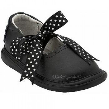 Wee Squeak Baby Toddler Girl Black Ribbon Mary Jane Shoes 3-12