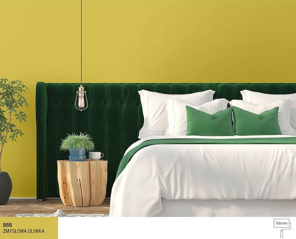 Kolor Oliwkowy Na ścianach W Sypialni Sypialnia