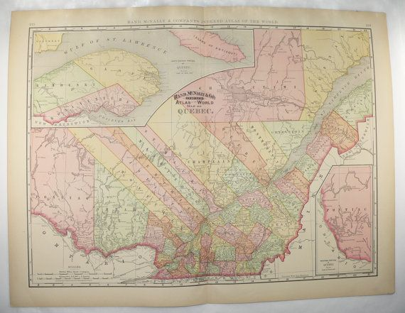 Large Map Quebec Canada Map 1898 Vintage Quebec Map New Home Art