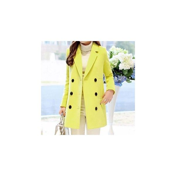 Wool Blend Notched-Lapel Double-Breasted Coat (545 SEK) ❤ liked on Polyvore featuring outerwear, coats, women, wool blend double breasted coat, wool blend coat, double breasted coat and yellow coat