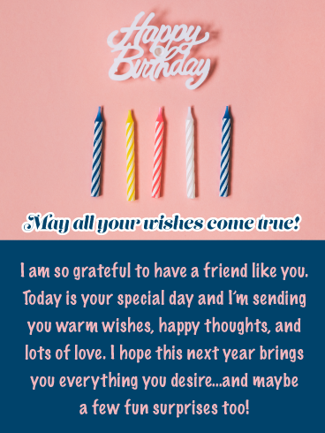 Wishful Thinking Happy Birthday Card For Friend Birthday Greeting Cards By Davia Happy Birthday Wishes Messages Birthday Wishes Messages Birthday Cards For Friends