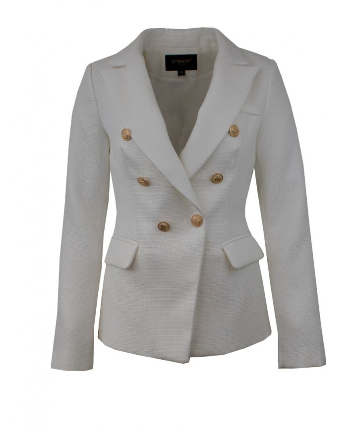 Attentif Paris Black Blazer Womens Double Breasted Jacket with Gold Button Detail Black