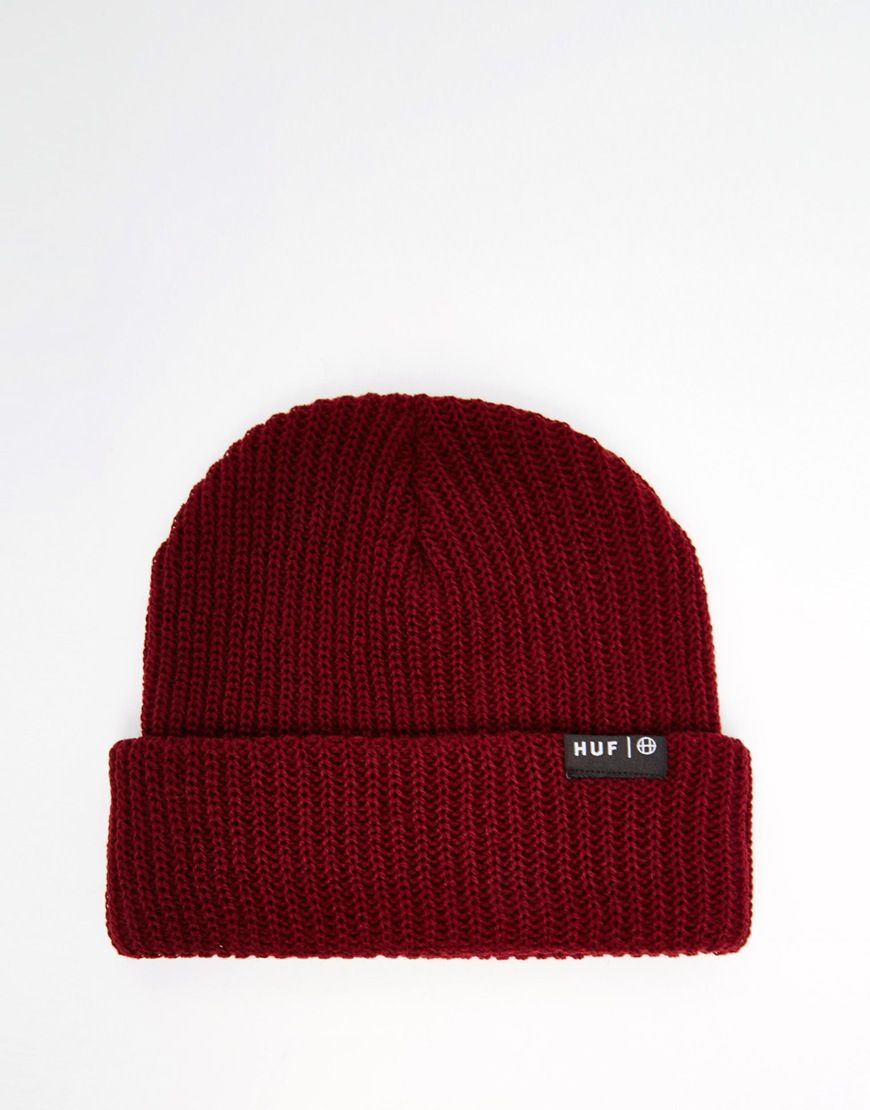Beanie by HUF Ribbed knit Turned-up cuff Logo patch detail Hand wash 100% Acrylic