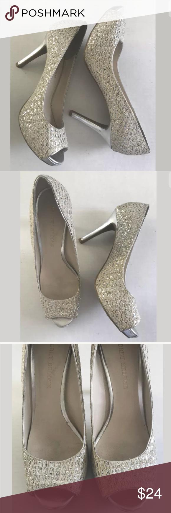 41e2ac9bc983 Audrey Brooke Quillan Glitter Peep Toe Heels 8.5 N Audrey Brooke Women s  Quillan Gold Silver Glitter Peep Toe Heels Size 8.5 N. 🔹Tag size  8.5  Narrow ...