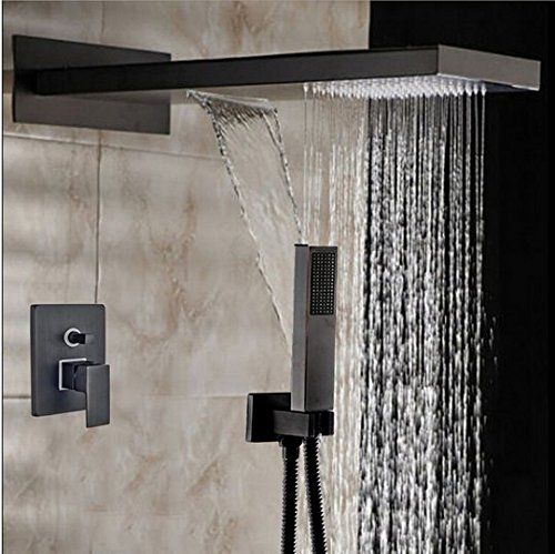 Pin On Bronze Square Rain Shower Head Faucet Valve Mixer Tap Waterfall Rain Shower Spayer