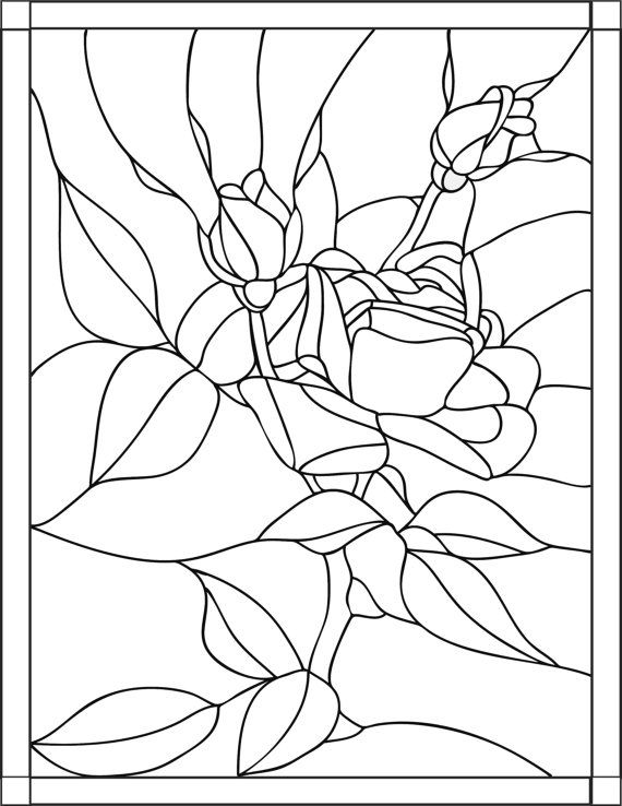 Rose stained glass adult coloring pages by joenay for Stained glass coloring pages for adults