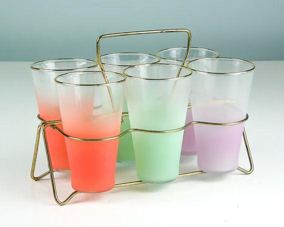 Vintage Blendo Drinking Glasses, Set of Six with Holder ...