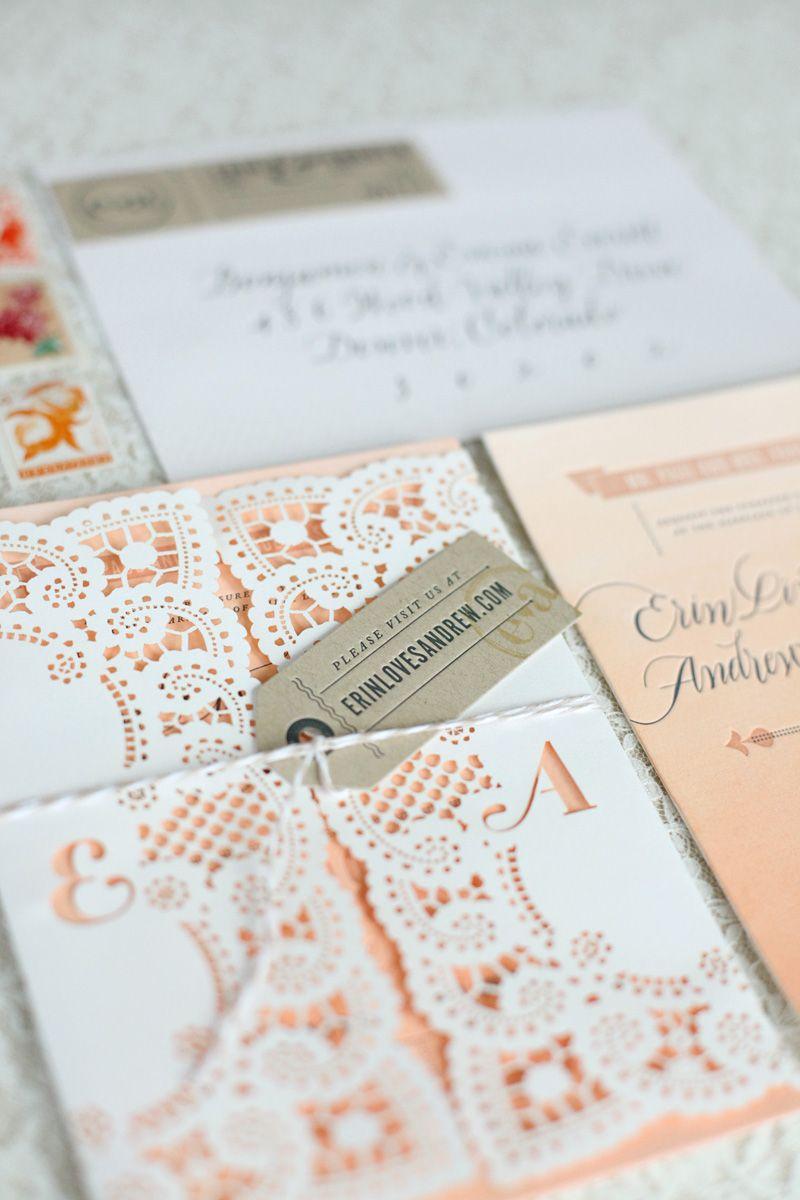 Erin andrewus ombre watercolor and letterpress wedding invitations
