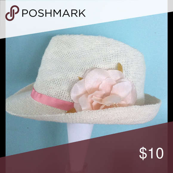 White fedora Super cute white fedora with faux flower and