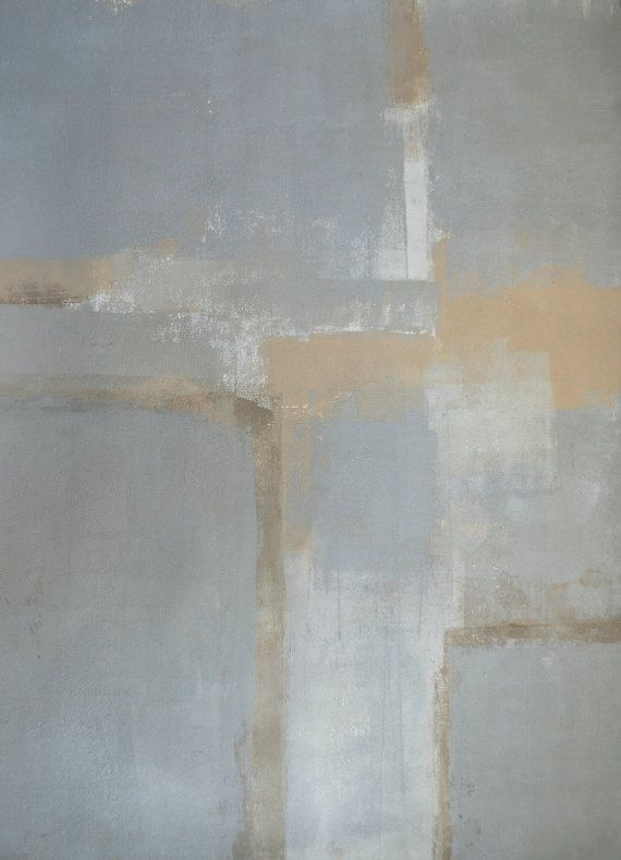 Original Art, 2014 - Acrylic Modern Contemporary Abstract Painting Wall Decorative Free Shipping Grey Brown Beige Neutral White 22x30