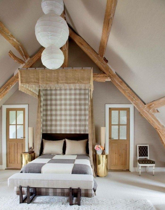 landhausstil schlafzimmer holzbalken und kariertes muster