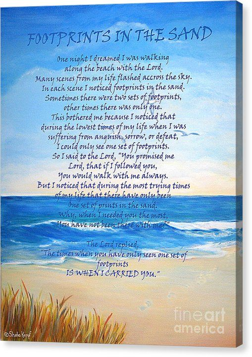 GREAT FOR FATHER'S DAY GIFT! Buy a 16.00 x 20.00 stretched canvas print of Shelia Kempf's Footprints in the Sand for $75.00.  Only 10 prints remaining.  Offer expires on 06/20/2016.