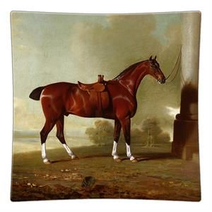 P8603-Chestnut Hunter Horse Decoupage Glass Plate #Derby #DerbyDay #KentuckyDerby