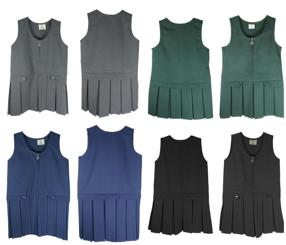 New Girls Kids School Uniform Pleated Pinafore Bib Dress Ages 2-3 to 15-16 UK
