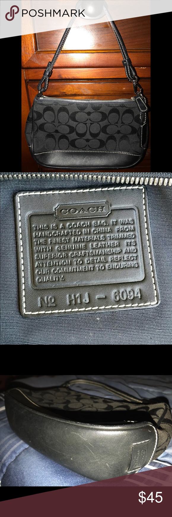 Coach Purse Small Bag Creed And Registration Number Inside No H1j