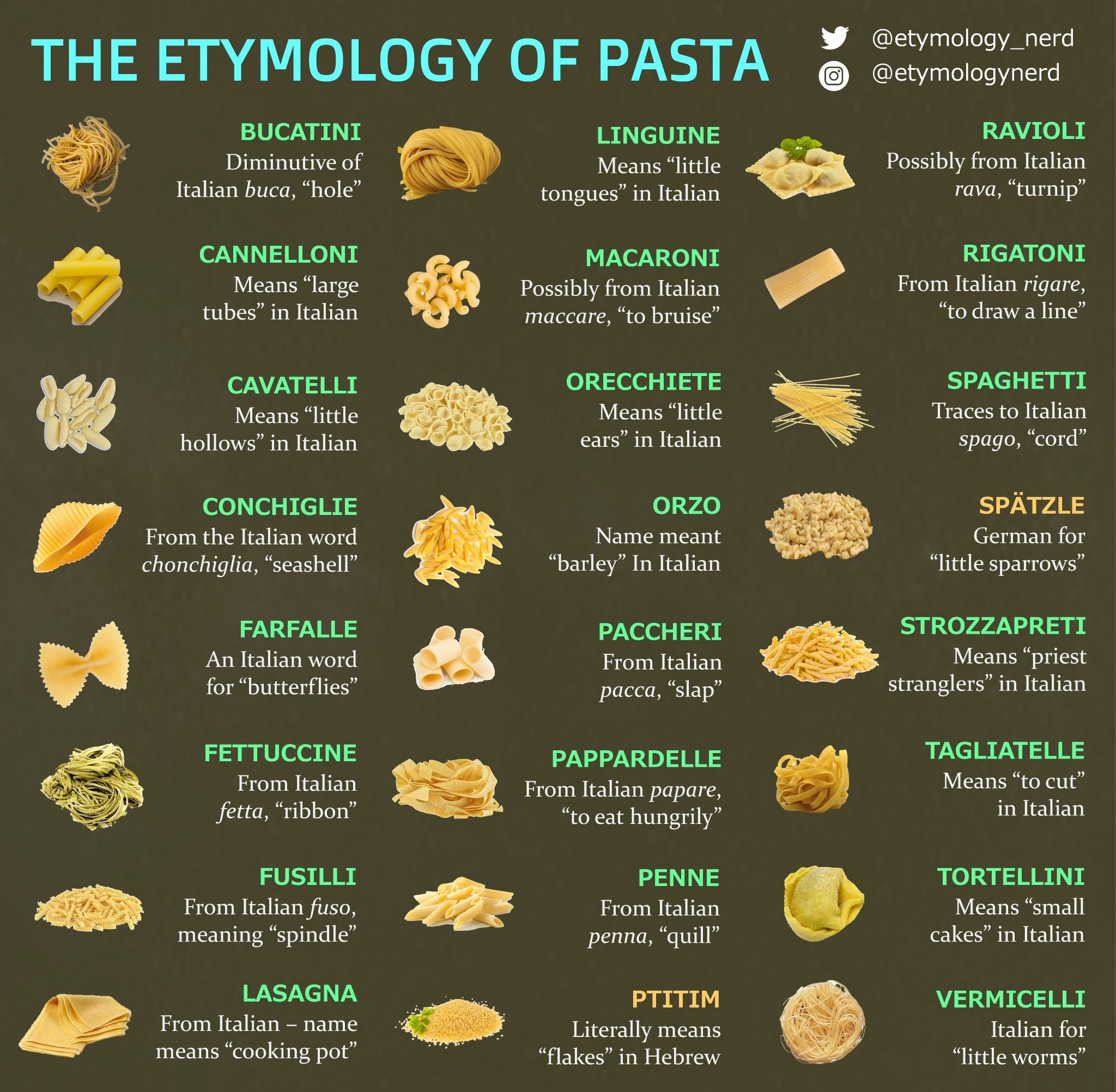 Misc I Made An Infographic Explaining The Meanings Behind Different Pasta Names Pasta How To Cook Pasta Etymology