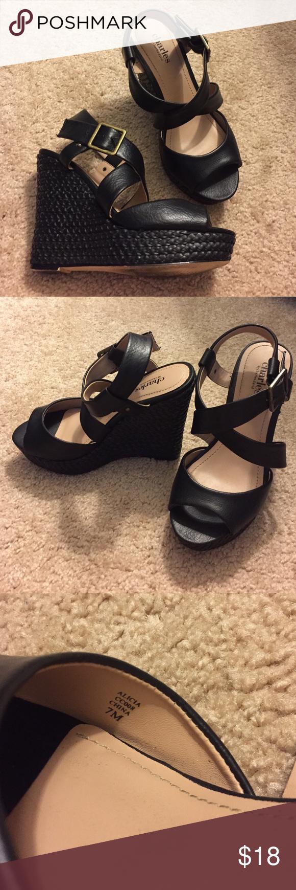 "Charles David Alicia wedges Worn once. Braided wedge and platform in black. 5"" heel with 1.25"" platform. Charles David Shoes Wedges"