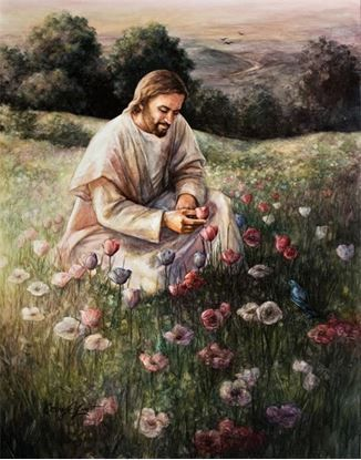Jesus kneeling and picking a wildflower. Beautiful Prophetic Art painting like I have never seen before! I love this!